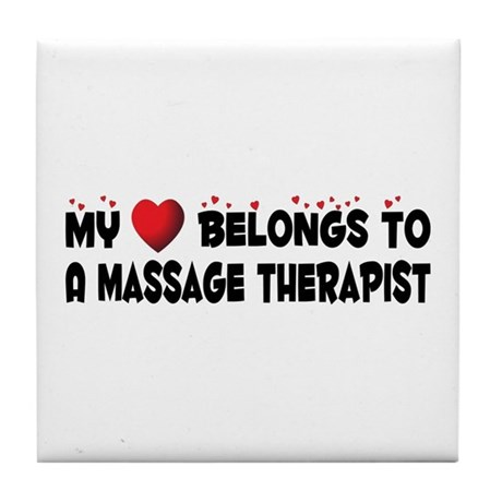 Belongs To A Massage Therapist Tile Coaster