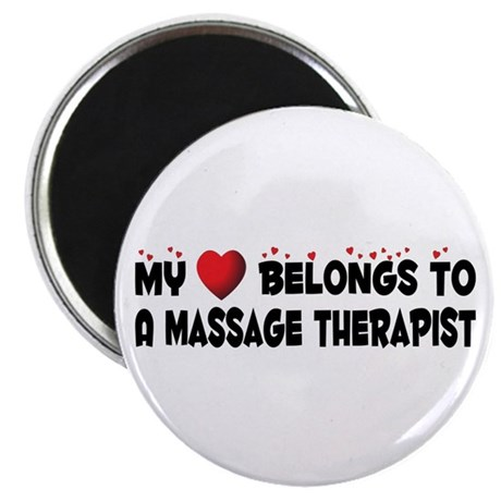 "Belongs To A Massage Therapist 2.25"" Magnet ("