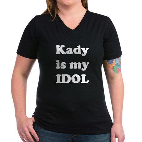 Kady is my IDOL Women's V-Neck Dark T-Shirt