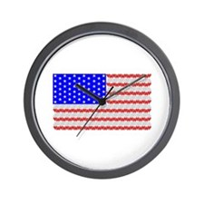 USA Flag - Hearts Wall Clock