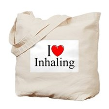 """I Love (Heart) Inhaling"" Tote Bag"