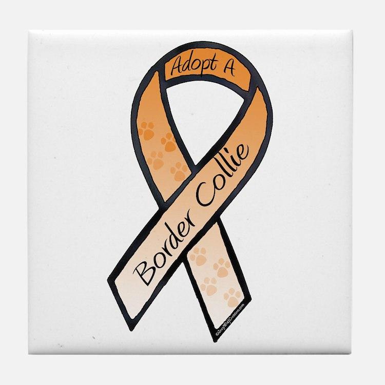 Border Collie RibbonE Tile Coaster