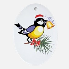 Christmas Bell Bird Oval Ornament