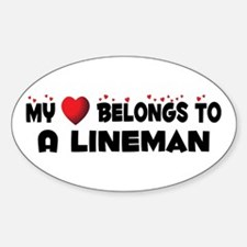 Belongs To A Lineman Oval Decal