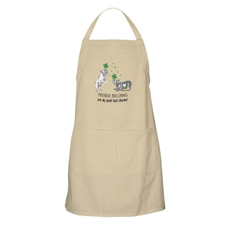 Frenchie Good Luck (GRAY) BBQ Apron