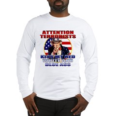 """Kiss My Ass"" Patriotic Uncle Sam Long Sleeve T-Sh"