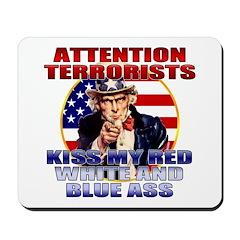 """Kiss My Ass"" Patriotic Uncle Sam Mousepad"