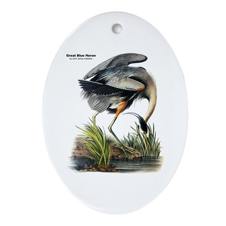 Audubon Great Blue Heron Oval Ornament