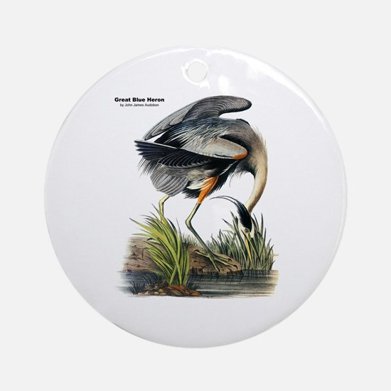 Audubon Great Blue Heron Ornament (Round)