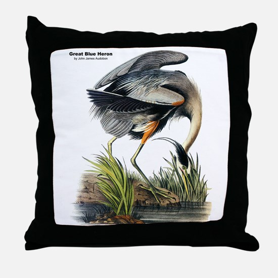 Audubon Great Blue Heron Throw Pillow