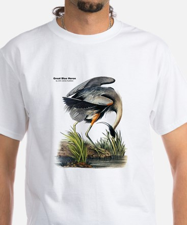 Audubon Great Blue Heron (Front) White T-Shirt