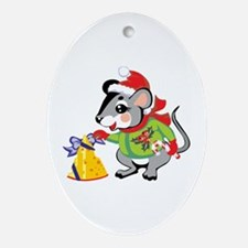 Candy Cane Mouse Oval Ornament