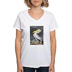 Audubon American White Pelican Women's V-Neck T-Sh