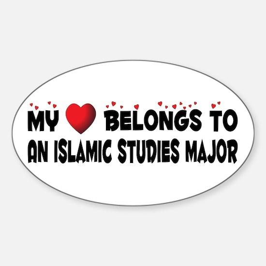 Belongs To An Islamic Studies Major Oval Decal