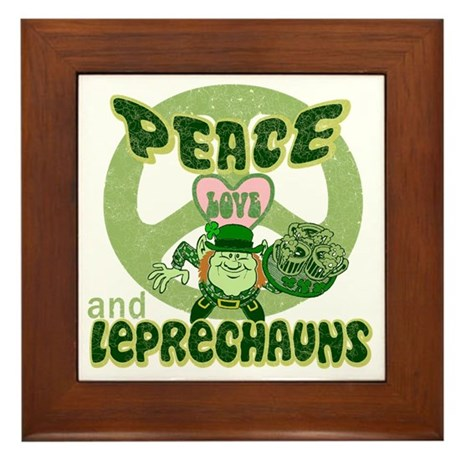 Peace Love and Irish Folklore Framed Tile