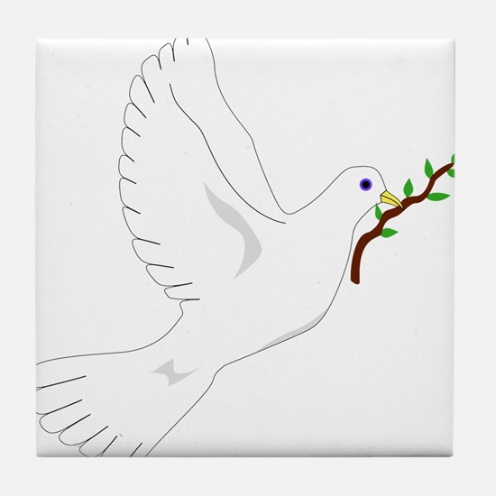 Dove with Olive Branch Tile Coaster