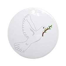Dove with Olive Branch Ornament (Round)