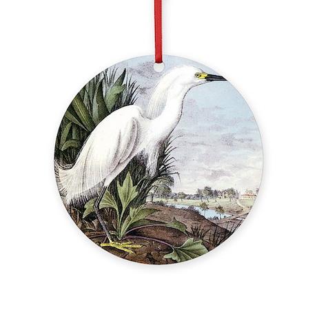 Audubon Snowy Egret Bird Ornament (Round)