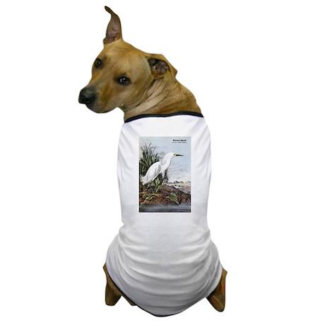 Audubon Snowy Egret Bird Dog T-Shirt