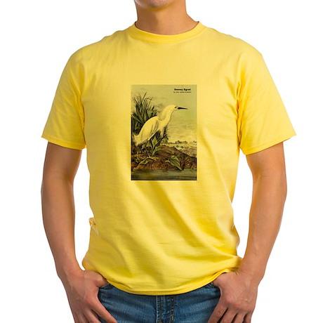 Audubon Snowy Egret Bird (Front) Yellow T-Shirt