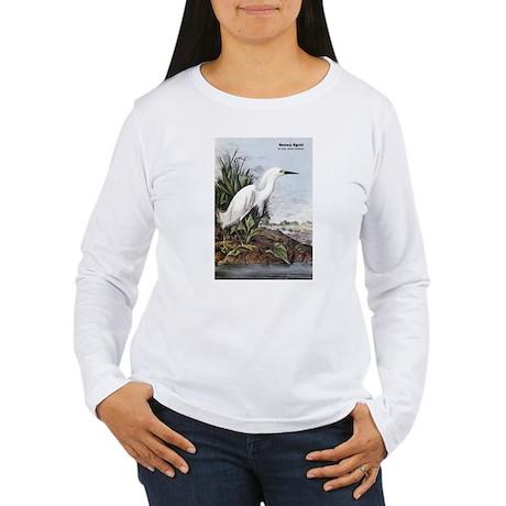Audubon Snowy Egret Bird (Front) Women's Long Slee