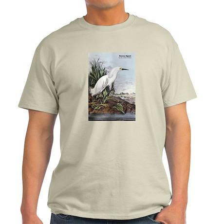 Audubon Snowy Egret Bird (Front) Light T-Shirt