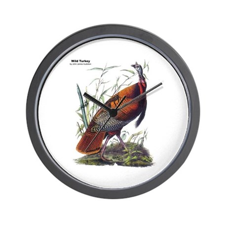 Audubon Wild Turkey Bird Wall Clock By 1withnature