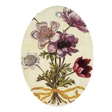 Anemones by Merian Oval Ornament