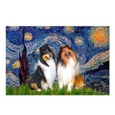 Starry Night / Collie pair Postcards (Package of 8