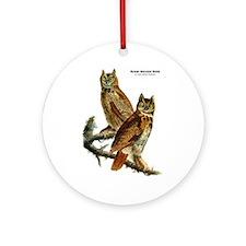 Audubon Great Horned Owls Ornament (Round)
