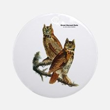 Audubon Great Horned Owls Ornament (Round)