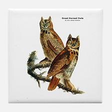 Audubon Great Horned Owls Tile Coaster