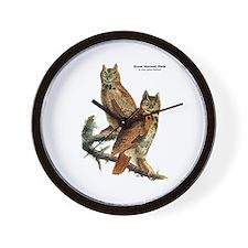 Audubon Great Horned Owls Wall Clock