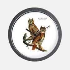 Audubon Great Horned Owls Wall Clock