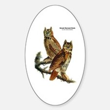 Audubon Great Horned Owls Oval Decal