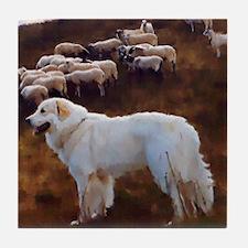 "Great Pyrenees Tile Coaster ""FlockGuard"""