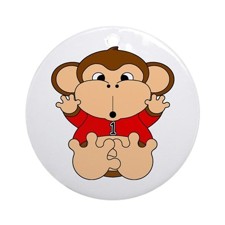 One Year Old Monkey Ornament (Round)