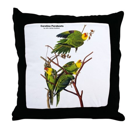 Audubon Carolina Parakeet Birds Throw Pillow