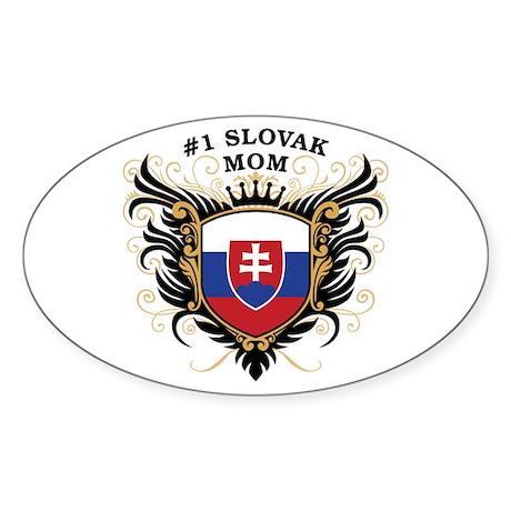 Number One Slovak Mom Oval Sticker
