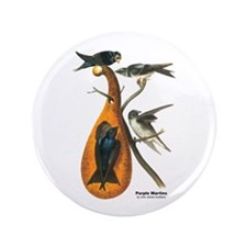 "Audubon Purple Martins Bird 3.5"" Button"