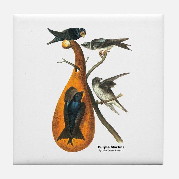 Audubon Purple Martins Bird Tile Coaster