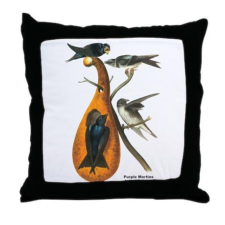 Audubon Purple Martins Bird Throw Pillow