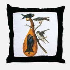 Audubon Purple Martins Bird Throw Pillow
