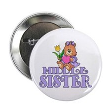"""Bear w/Heart Middle Sister 2.25"""" Button"""