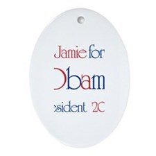 Jamie for Obama 2008 Oval Ornament