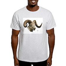 Ram Sheep Horn (Front) Ash Grey T-Shirt