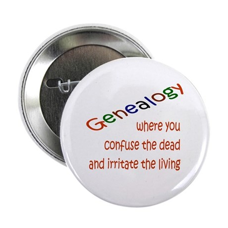 """Genealogy Confusion (red) 2.25"""" Button (10 pack)"""