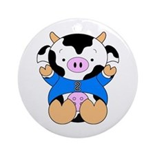 Two Year Old Cow Ornament (Round)