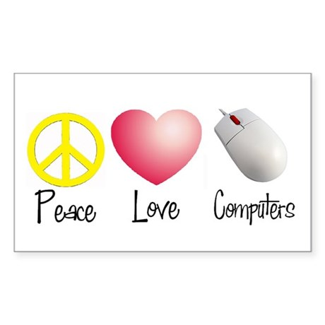 Peace, Love, and Computers Rectangle Sticker