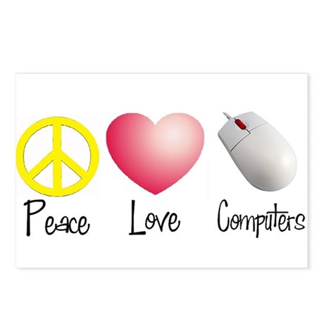 Peace, Love, and Computers Postcards (Package of 8